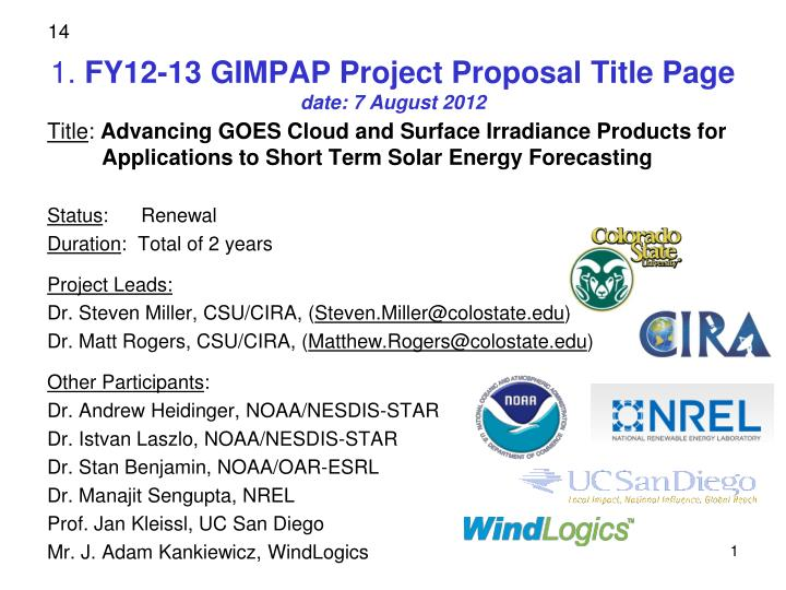 1 fy12 13 gimpap project proposal title page date 7 august 2012 n.
