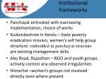 institutional frameworks