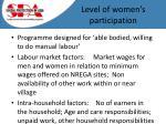 level of women s participation
