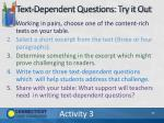 text dependent questions try it out