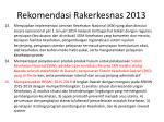 rekomendasi rakerkesnas 20133