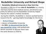 rockefeller university and richard shope