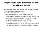 implications for california s health workforce needs1