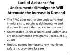 lack of assistance for undocumented immigrants will attenuate the increase in demand