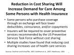 reduction in cost sharing will increase demand for care among some persons with health insurance