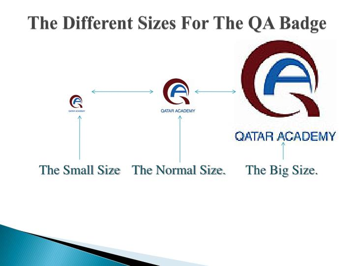 The different sizes for the qa badge