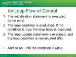 for loop flow of control1