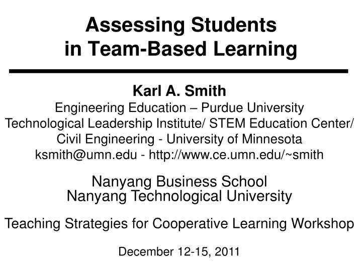 assessing students in team based learning n.