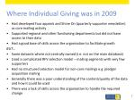 where individual giving was in 2009