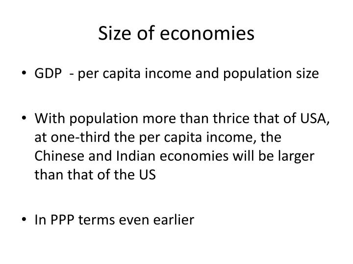 Size of economies