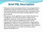brief pbl description