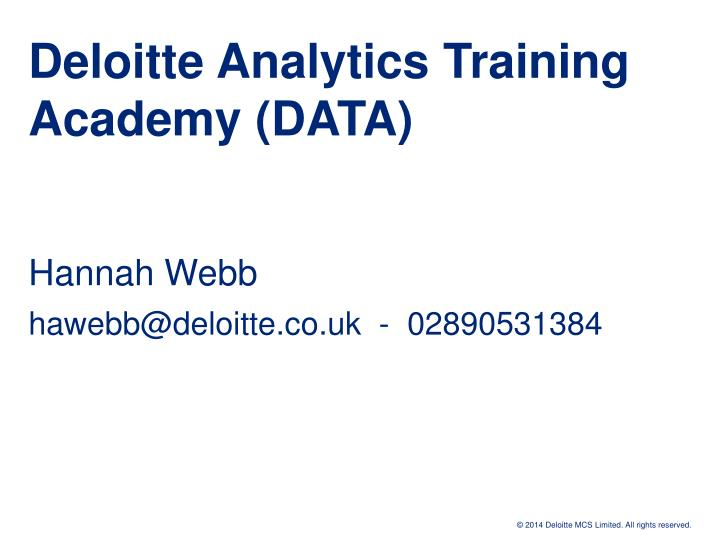 deloitte analytics training academy data n.