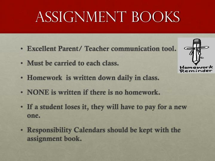 assignment books