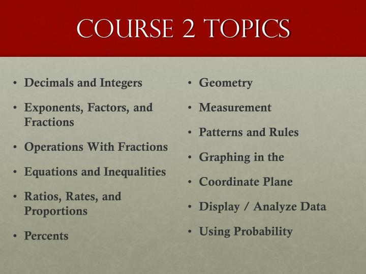 course 2 topics