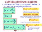 culminates in maxwell s equations