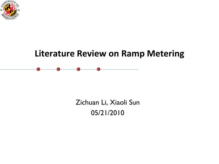 literature review on ramp metering n.