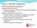 step 2 market targeting evaluating market segments