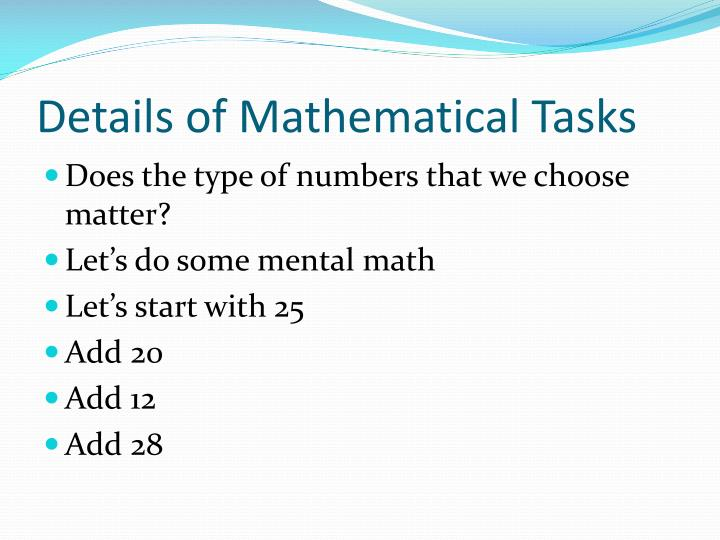 Details of Mathematical Tasks