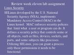 review week eleven lab assignment22