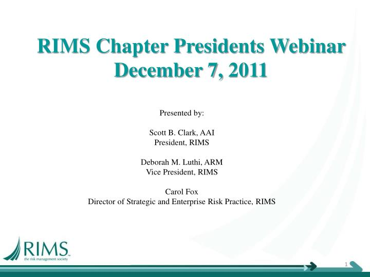rims chapter presidents webinar december 7 2011 n.