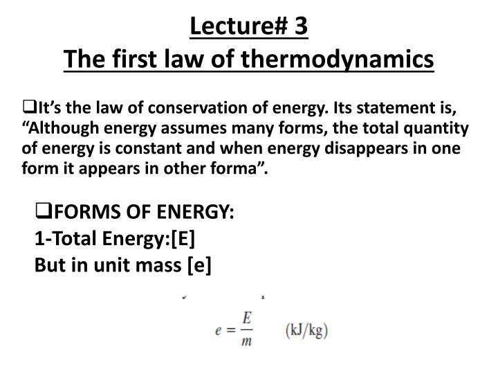 lecture 3 the first law of thermodynamics n.