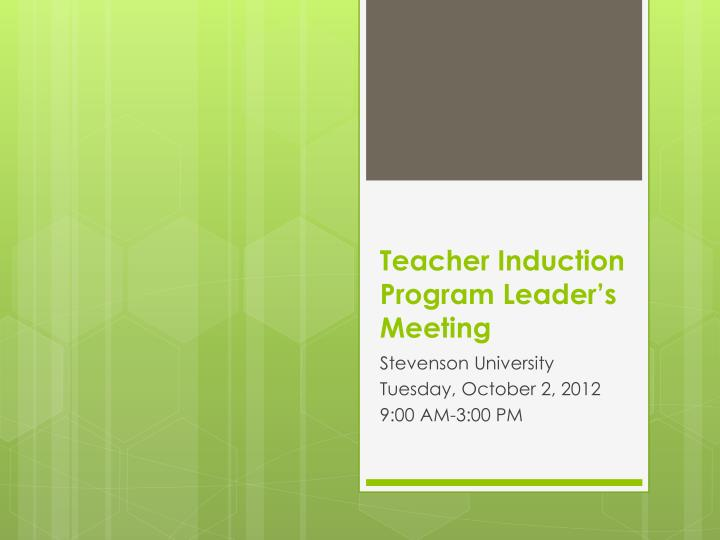 teacher induction program leader s meeting n.