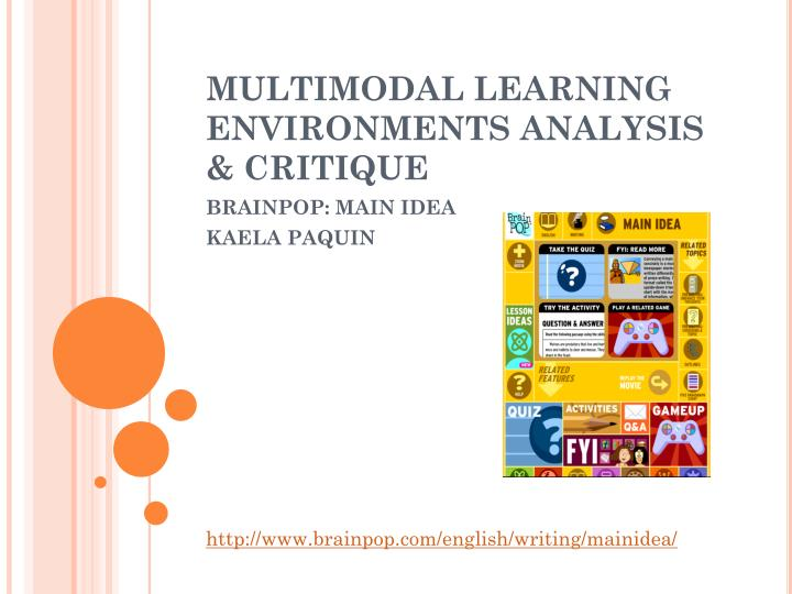 multimodal learning environments analysis critique n.