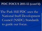 pdc focus 2011 12 cont d