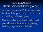 pdc member responsibilties con td