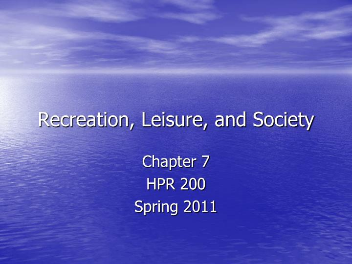 recreation leisure and society n.