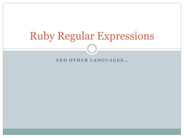 ruby regular expressions n.