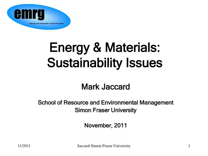 energy materials sustainability issues n.