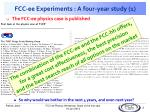 fcc ee experiments a four year study 1