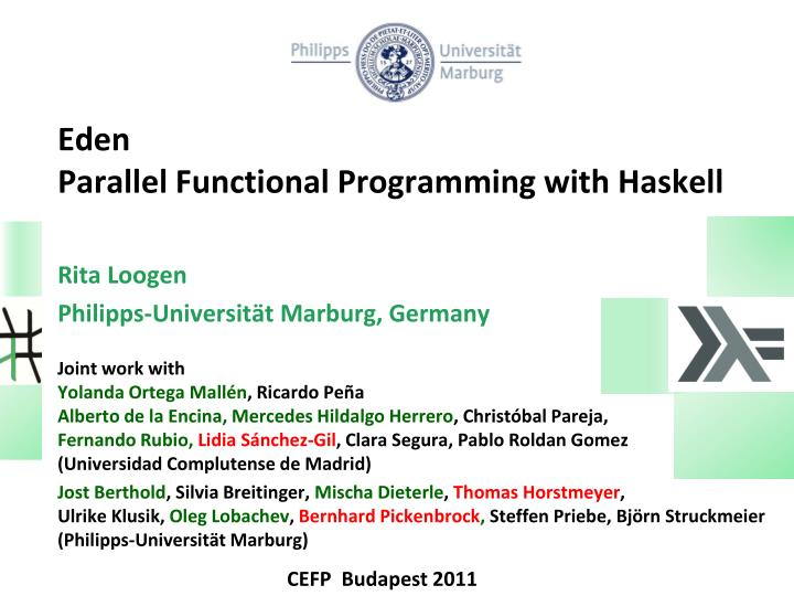 eden parallel functional programming with haskell n.