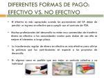 diferentes formas de pago efectivo vs no efectivo