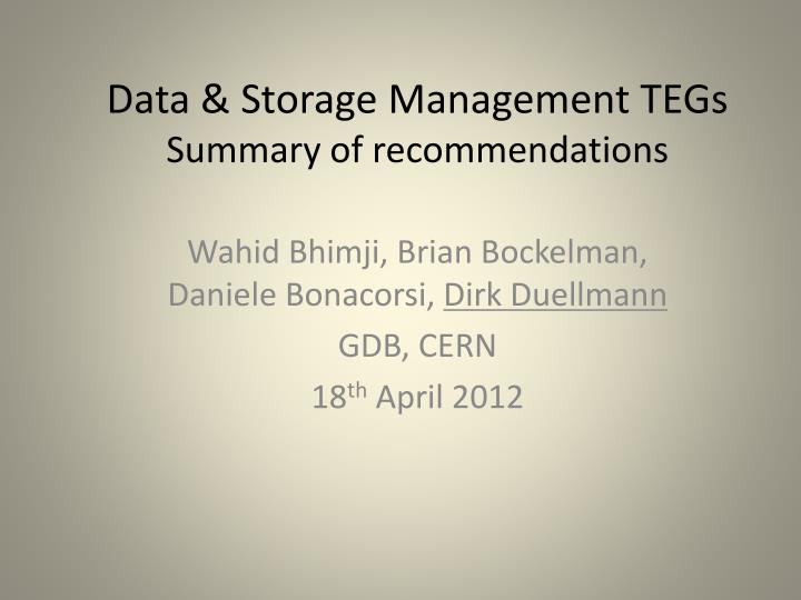 data storage management tegs summary of recommendations n.