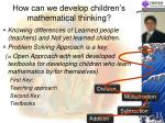 how can we develop children s mathematical thinking1