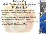 second key math textbooks in english for problem s a