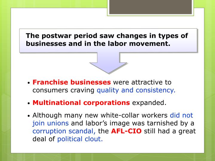 The postwar period saw changes in types of businesses and in the labor movement.