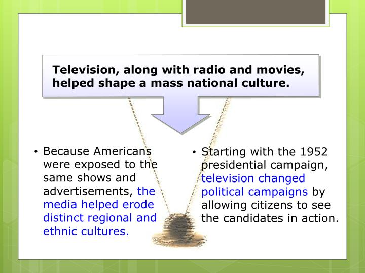 Television, along with radio and movies, helped shape a mass national culture.