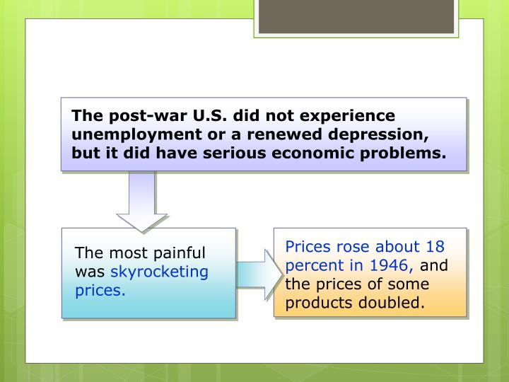 The post-war U.S. did not experience unemployment or a renewed depression, but it did have serious economic problems.