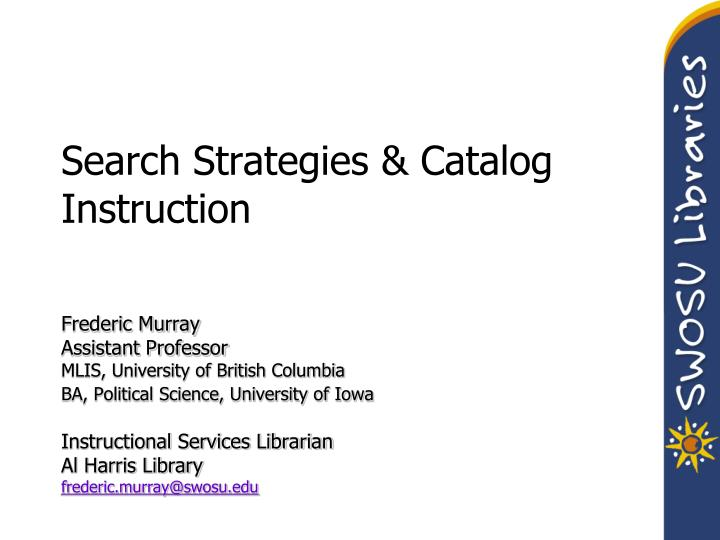search strategies catalog instruction n.