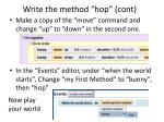 write the method hop cont