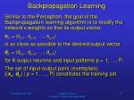 backpropagation learning