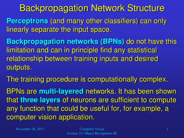 backpropagation network structure n.