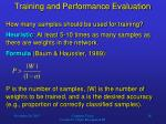 training and performance evaluation