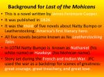 background for last of the mohicans