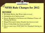 nfhs rule changes for 2012