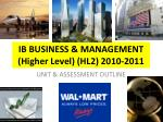 ib business management higher level hl2 2010 2011