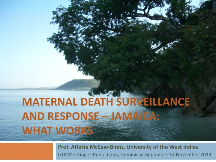 maternal death surveillance and response jamaica what works n.